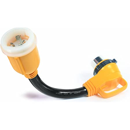 "Camco 55572 18"" 50 AMP Locking Male/50 AMP Locking 90 Degree Female PowerGrip Dogbone Electrical Adapter"