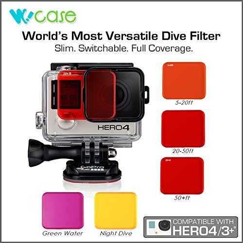 WoCase Professional Switchable Lens Filter Set for GoPro HERO4 HERO 3+ Cameras (Compatible with Standard Housing ONLY)(Full Dive Water Depth Coverage)