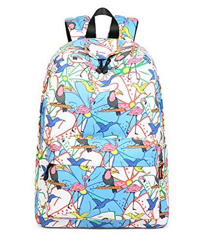 Joymoze Wasserdicht Schule Rucksack für Mädchen Mittelschule Süß Bücher Tasche Tagesrucksack für Frauen Bunter Vogel