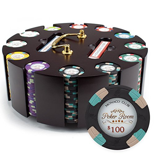 Claysmith Gaming 300ct Monaco Club Poker Chip Set in Wooden Carousel Case, 13.5g Heavyweight Clay Composite