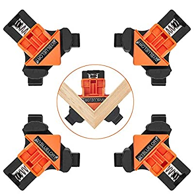 4pcs 90 Degree Angle Clamps, Corner 90° Woodworking Corner Clip, Right Angle Clip Fixer, Clamp Tool with Adjustable Hand Tools for Carpenter Engineering Photo Framing (B4PCS)