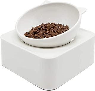 ALBOLET Pet Cat Bowl Raised Cat Elevated Bowl, Cat Ear-Shaped Feeding Bowl, Magnetic Adjustable Cat Food Bowl, Non-Slip Sloping Design,Dog Bowl Raised ,White