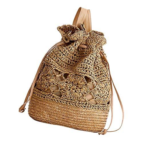 Lounayy Boho Vintage Ladies Men School Bag Zaino Ragazze Scuola Zaino Paglia Adolescente Bambini Zaino Tempo Libero Daypacks Beige Per Esterni (Color : Braun, Size : One Size)