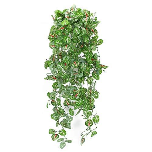 HUAESIN 2 Pcs Künstliche Hängepflanzen Efeu Kunstpflanzen Lange Hängende Pflanzen Unechte Plastikpflanzen Grün Begonie für Hochzeit Innen Balkon Wand Topf Garten Party Dekoration 107cm