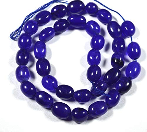 AAA+++ - Cuentas ovaladas de ónix azul liso, ónix azul, tamaño de las cuentas ovaladas, 10 mm (aproximadamente).
