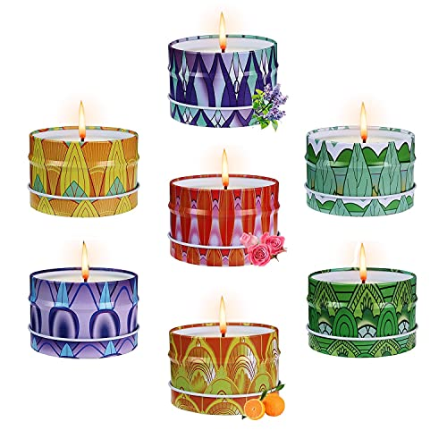 Scented Candles Gifts Set for Women Aromatherapy Candles for Home Scented,180 Hours of Burn Time 7 Pack 4.0 oz Soy Candle Lavender Candle Set Gift for Mother's Day Birthday Christmas Valentine's Day
