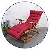 XEWNEG Sun Lounger, Bamboo Rocking Chair, Home Lazy Folding Siesta Old Man Chair, 5-Speed Adjustable Backrest Chair, Portable Outdoor Garden Beach Lounge Chair (Color : Wood Color+Red Cotton pad)
