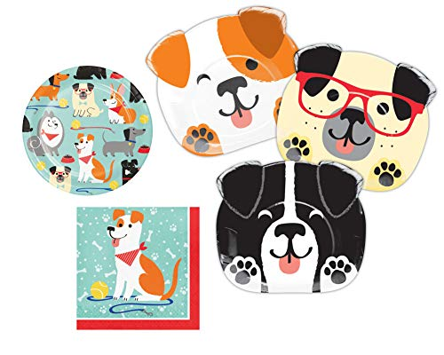 Puppy Dog Themed Party Supplies: Bundle Includes Shaped Dinner Plates, Dessert Plates, and Luncheon Napkins for 8 People