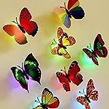 MOIKA 10 Pcs Stickers Muraux LED 3D Papillon Lumières Stickers muraux 3D Maison Décoration Chambre Salon Chambre DIY Décoration Intérieure Papier Peint Coller Revêtement Mural Tapisserie(Random)
