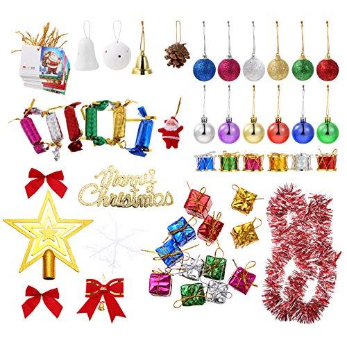 EXCEART 136Pcs Conjunto de Enfeites para Ãrvores de Natal Enfeites Pendurados para Ãrvores de Natal Bola de Natal de Plástico Boné de Ãrvore Cartões de Bênção Mini Caixa de Presente