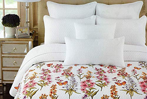 Cynthia Rowley Cotton 3 Piece King Quilt Set Wildflowers Orange Pink Purple Sage Green White Large Floral Botanical Nature Butterfly
