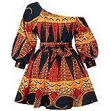 CAOQAO Vestidos Verano Mujer Casual 2019 Mini Vestido de Manga Larga Estampado Africano Fuera del Hombro Dashiki Sexy Dress