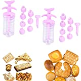 Creamy Tips Icing Syringe, Reusable Silicone Piping Bags, Cream Cookie Frame Gun Baking Tools, Couplers Adaptor Cake Decorating (2set)