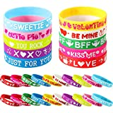 30 Pieces Valentine's Day Silicone Bracelets Colorful Wrist Band Love Saying Wristband for Classroom Exchange Party Favors Game Prizes Carnivals Present Holiday Decoration Teacher's Prizes