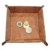 Boshiho Bandeja cuadrada de corcho, para guardar llaves, relojes, teléfono celular, colección de cosas de mesa, regalo vegano (bronceado)