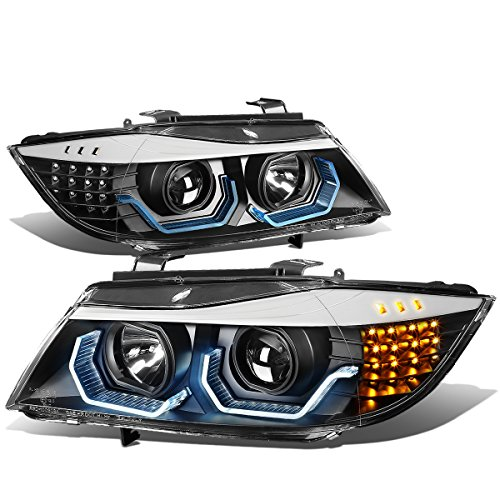 Dual 3D LED Blue U-Halo angel Eyes Black Housing Clear Lens Headlight Lamps Replacement for BMW E90 3-Series 4-Dr 09-12