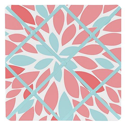 Sweet Jojo Designs Tableau d'affichage photo en tissu pour collection Emma Turquoise et Corail