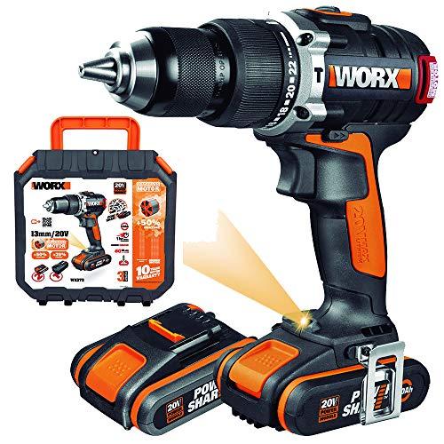 WORX WX373 Accu-klopboorschroevendraaierset – borstelloze accuschroevendraaier 20 V, 2 Li-ion accu's, koffer & snellader – 60 Nm, 2 versnellingen & LED-licht – om te schroeven, boren & klopboren