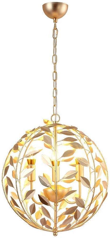 Lampadario tondo foglie d`oro zmsdt-hl-627