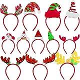 BQTQ 12 Pieces Christmas Headbands Reindeer Costume Hair Headband Christmas Tree Headbands Elves Party Hats for Christmas Favor