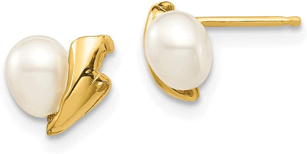 14k Yellow Gold 5mm White Rice Freshwater Cultured Pearl Post Stud Earrings Ball Button Fine Jewelry For Women Gifts For Her