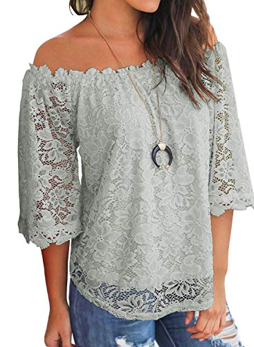 MIHOLL Women's Lace Off Shoulder Tops Casual Loose Blouse Shirts (Gray, Small)