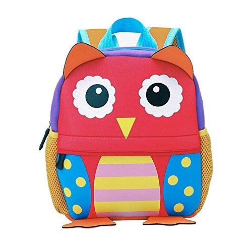 Kinderrucksack Bunter Leichter und Moderner Babyrucksack Süßer Cartoon Tier Design auf der Schultasche für Kinder 2-5 Jahre Alt für Junge und Mädchen (Eule, 26*10*32 cm)