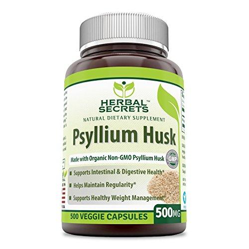 Herbal Secrets Psyllium Husk 500 Mg Veggie Capsules (Non-GMO) - Supports Intestinal & Digestive Health, Weight Management; Helps Maintain Regularity* (500 Count)