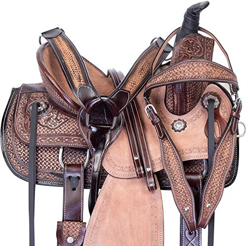 """Star Trading Company 12""""-16'' Inches Premium Youth Kids Western Leather Roping Ranch Cowboy Rodeo Horse Saddle TACK Set (12.5"""" Inches)"""