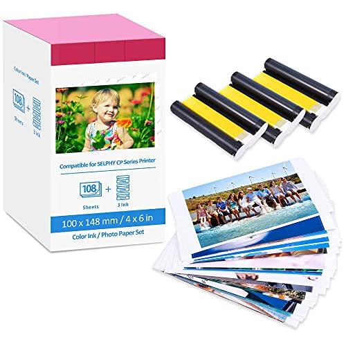 Hanseo Ersatz Canon Selphy KP-108IN 3115B001 Fotopapier für Selphy CP CP780 CP790 810 CP820 CP910 CP1000 CP1200 CP1300 Fotodrucker 108 Blatt Foto Papier (100 x 148 mm) + 3 Farbpatronen