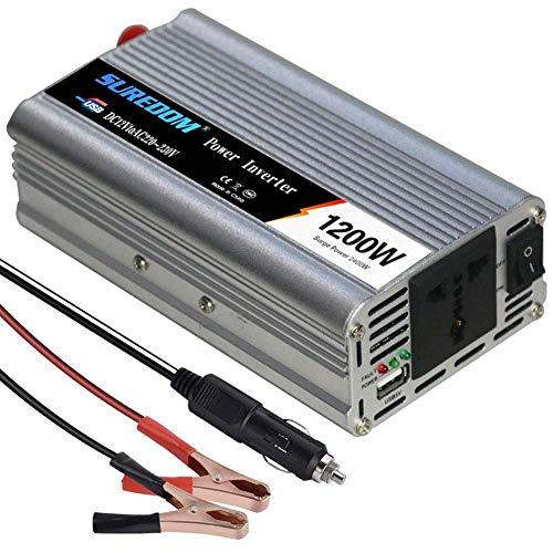 LYHY inversor 1200W Inversor de Corriente Convertidor para Coche DC 12 / 24V a AC 110~120V / 220~230V Inversores de Corriente DC de Alta eficiencia Peak 2400W con enchufes universales de CA y Puertos