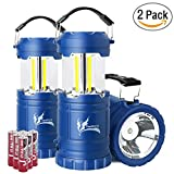 Collapsible LED Camping Lantern Combo with Flash Light, Ultra Bright 300 Lumens COB Lighting Source Great for Hurricanes, Emergency, Hiking, Portable Battery Powered Camping Lights (2-Pcs, Blue)