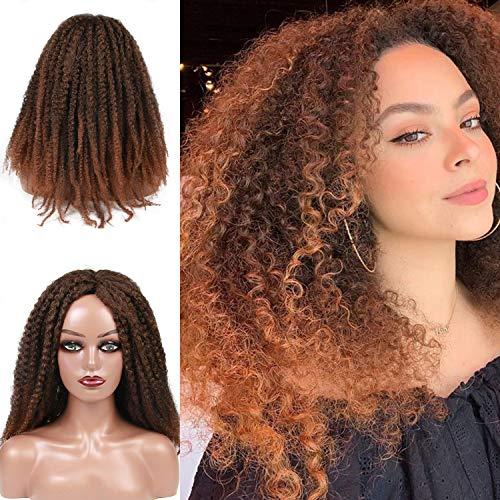 Afro Kinky Marley Braids Black Ombre Brown Hair Wig Kinky Marley Kanekalon Synthetic Twist Crochet Braiding Hair Wig (18inch, T30#)