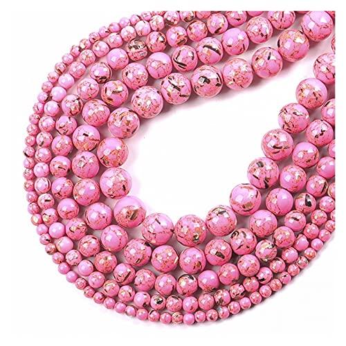 Cuentas de Piedra, Cuentas Sueltas Redondas Naturales 4 6 8 10 12 Pulsera Fit DIY Charm Beads para la fabricación de Joyas para la fabricación de Joyas (Color : Rose Red, Item Diameter : 6mm 61pcs)