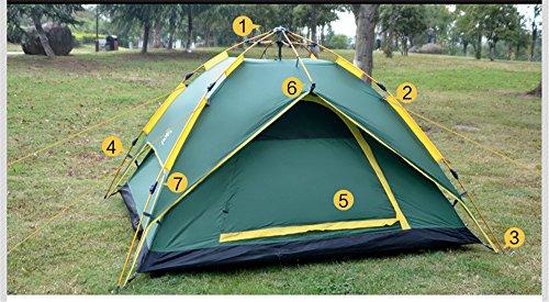 HONEYY Tente de Camping en Plein air sur Le pôle entièrement Automatique en Aluminium Plus de Gens Peuvent être supprimés de la Tente de Camping Double 200 * 230 * 140cm d'équipe
