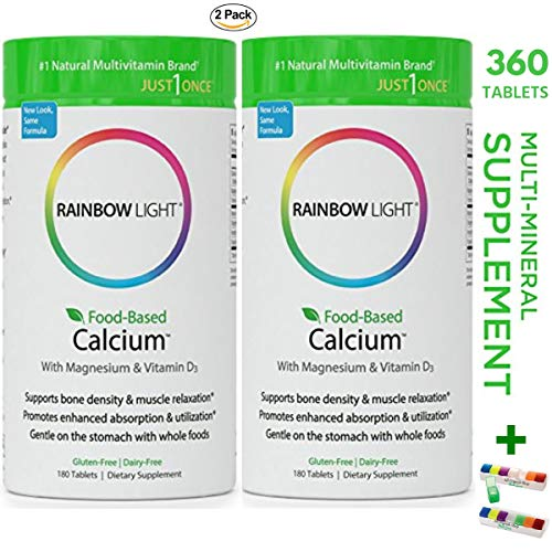 Rainbow Light - Food-Based Calcium Whith Magnesium & 500 IU of Vitamin D3 Supplement (2 Packs of 180 Tablets) - Supports Bone Density & Muscle Relaxation, Promotes Enhanced Absorption & Utilization