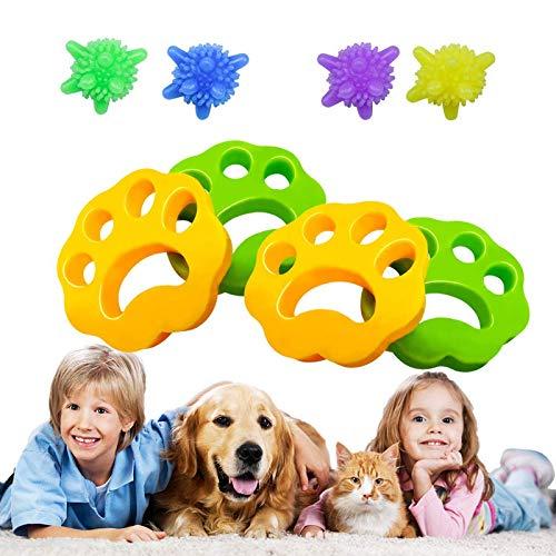 Eiqer 4 Pack Haustier haarentferner, Tierhaarentferner Waschmaschine, 4 Pack Wäscherei Bälle, Wiederverwendbarer fusselpfote zur Entfernung von Tierhaaren für Hundehaar, Katzenhaar und alle Haustiere