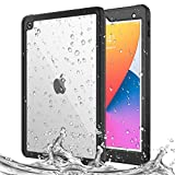 MoKo Case Fit New iPad 8th Gen 2020 & iPad 7th Generation 2019/ iPad 10.2 Case, Waterproof Case with Built-in Screen Protector Clear Protective Shock-Absorbing Bumper Submersible Full-Body Case,Black