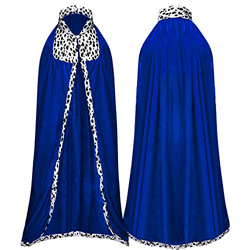 Proumhang King's Robe Prince Cloak King's Cape Adult Halloween Carnival Christmas Medieval Costumes Blue 190cm
