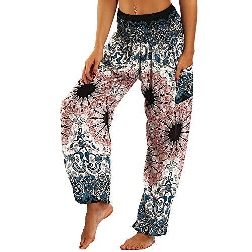 dilake Pantaloni Boho Yoga da Donna, Pantaloni Harem, Pantaloni da Spiaggia Casual Hippy Fluidi (010)
