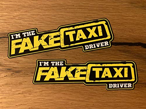 MG407 / 2X Fake Taxi Aufkleber 13x4cm Driver Auto Tuning Porn Fun Sticker Arride Low How Deep Scene Oldtimer Truck