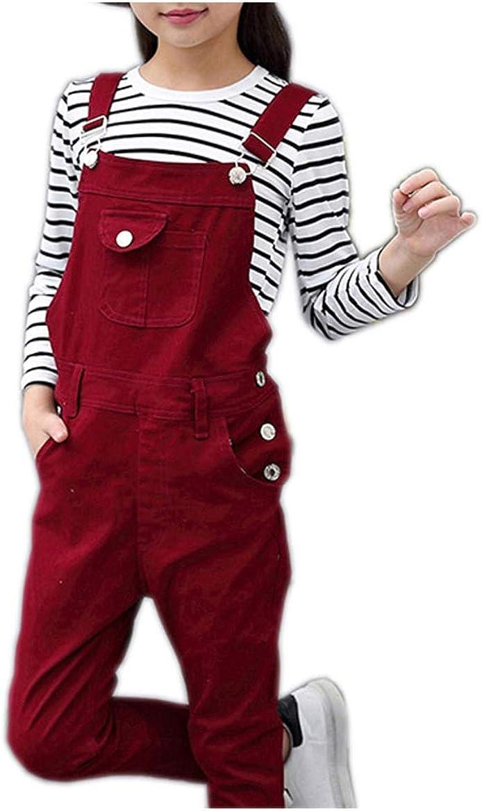 Girls Big Kid Adjustable Strap Cotton Suspender Bib Overalls Long Pants Trousers