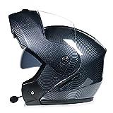 SJAPEX Bluetooth Integrado Casco de Moto Modular con Doble Visera Cascos de Motocicleta ECE/Dot Homologado Motocicleta de Casco Completo para Adultos al Aire Libre Casco Integral B,XL=61cm~62cm