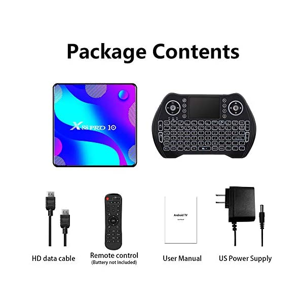 Android TV Box 11.0, Smart TV Box RK3318 2GB 16GB Support 2.4G 5.8G WiFi Bluetooth 4.1 with Mini Backlit Keyboard…