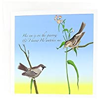777images Designs Christian – 彼の目の雀、Gospel Hymn Illustrated with 2つSparrows – グリーティングカード Set of 6 Greeting Cards