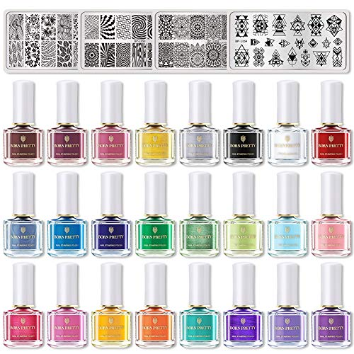BORN PRETTY Nail Art Stamping Kits Stamping Polish 24 Colors with 4 Manicuring Plates DIY Stamping Plates Printing Manicuring Plate Sets