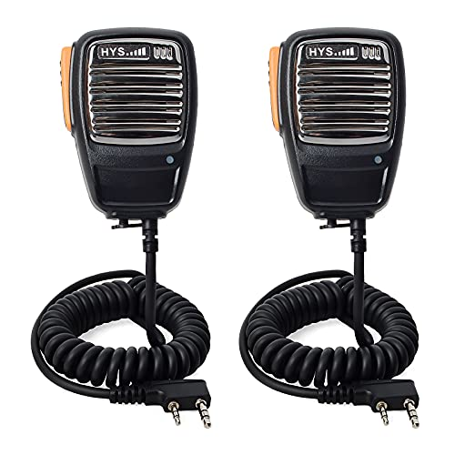 HYS R02 - Altavoz remoto de radio de dos vías de 2 pines compatible con BaoFeng UV-5R UV-5RE UV-5R Plus GT-3TP GT-5TP H-777 BF-888S radio bidireccional (paquete de 2)