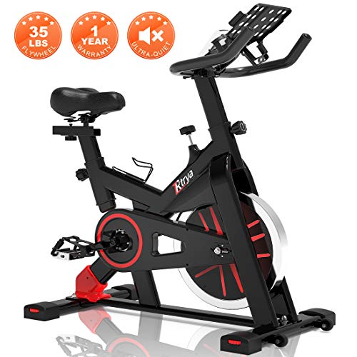 TRYA Spin Bike, Belt Drive Indoor Cycling Bike Stationary with Ipad Mount, 35 LBS Flywheel Workout Bike for Home Cardio Gym, with LCD Monitor & Comfortable Seat Cushion