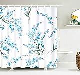 JOOCAR Design Duschvorhang, grün-blaue Blume, grüne Blätterblume, wasserdichter Stoffstoff, Badezimmer-Dekor-Set mit Haken