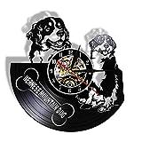 LIMN Reloj de Pared de 12 Pulgadas Reloj de Pared de Perro de montaña de Berna Suiza Perro de montaña Disco de Vinilo Reloj de Pared 3D Decoración de Pared Creativa para Sala de Estar